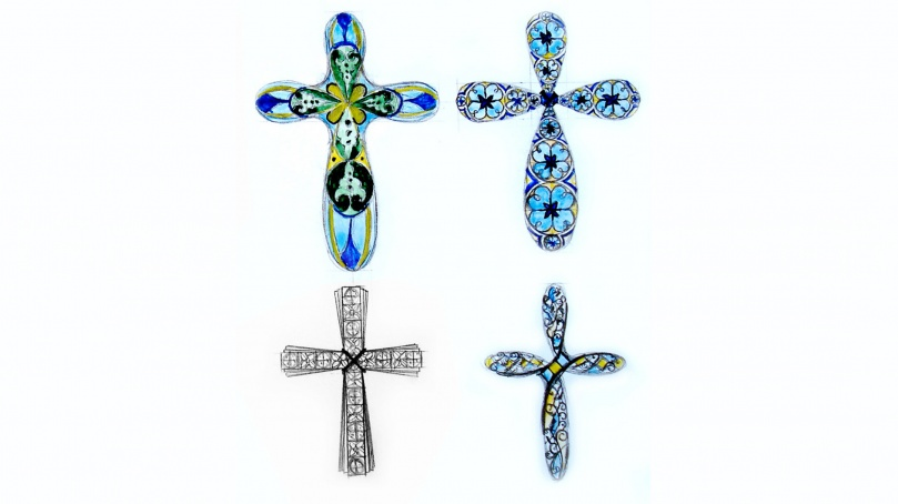 Эскизы нательных крестиков с цветной эмалью
