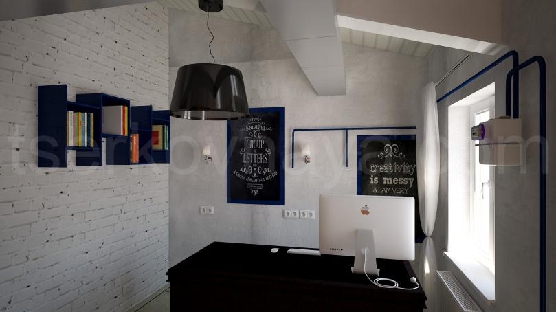 Интерьер мансарды в стиле Лофт (Синяя часть)