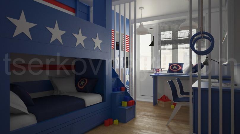 """Детская с деталями """"Капитан Америка"""""""